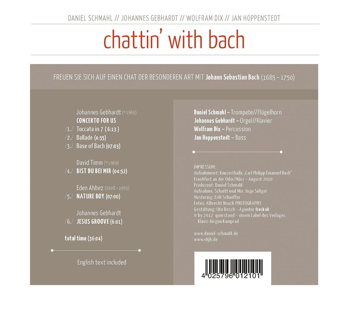 chattin' with bach CD Cover back